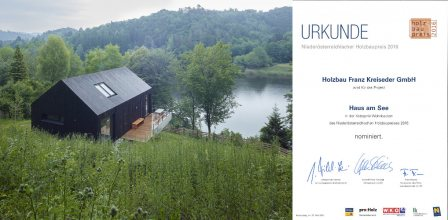 """Niederösterreichischer Holzbaupreis 2016: Nominierung Projekt """"Haus am See"""""""