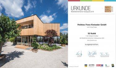 """Niederösterreichischer Holzbaupreis 2018: Anerkennung Projekt """"52 Kubik"""""""